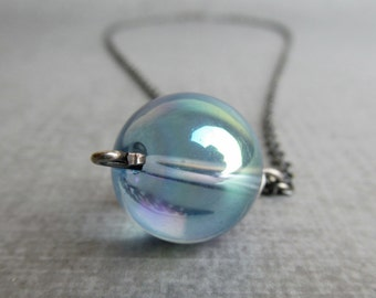 Blue Bubble Necklace, Light Blue Necklace, Bubble Pendant, Blue Pendant Necklace, Oxidized Sterling Silver Necklace