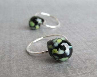 Black Earrings, Black Green Earrings, Small Wire Hoops, Silver Hoop Earrings, Lampwork Earrings Black Green, Sterling Silver Earrings Hoops