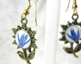 Blue Bachelor's Button Petals,  Flowers Earrings, Real  Pressed Flowers, Brass, Resin (1545)