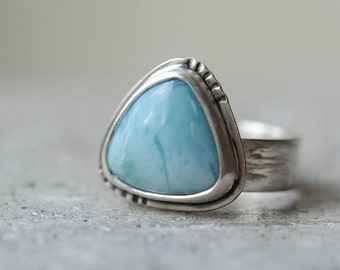 RESERVED. Larimar ring sterling silver size 7.5, birch bark ring, sky blue trillion gemstone ring, one of a kind