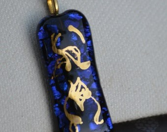 Fused Glass Necklace with 22 Karat Abstract Design, Blue and Black Glass, SRAJD
