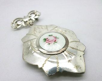 SALE Beautiful Vintage Sterling and Enamel Rose Locket Brooch Pin