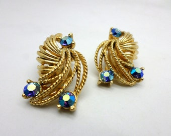 Vintage Gold Tone and Blue Rhinestone Lisner Clip Earrings