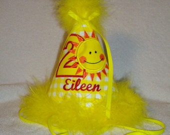"""Personalized Bright Yellow """"You are my Sunshine"""" Birthday Hat embroidered applique birthday year and child's name"""