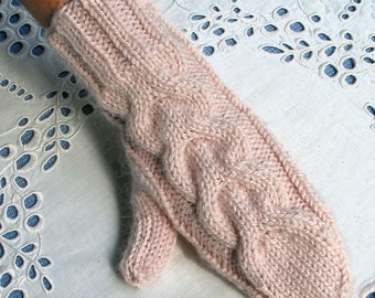 Pink Alpaca Blend Mittens, Soft and Warm with Cable, Will fit Women or Teens