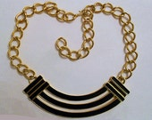 Vintage 80s Monet Gold  Tone Black Enamel Geometric Chain Link Statement Necklace French Couture Style