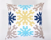 Decorative Throw Pillow Cover Slub Snowflake Navy Gold Ecru- 10 Cushion Cover Sizes Available including 18 x 18 and 20 x 20