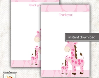 Pink Mommy and Baby Giraffe Matching Flat Card Thank you Note, Size 4x6 INSTANT DOWNLOAD