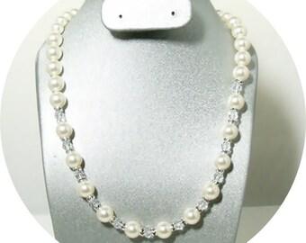 Ivory Pearl Bridal Necklace, Rhinestones, Crystals, Bridal Accessories, Pearl Jewelry,Bridal Jewelry, Pearl Necklace, Wedding Jewelry