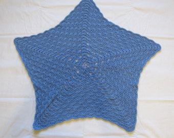 New Handmade Denim Blue Star Shaped Crochet Baby Blanket Afghan