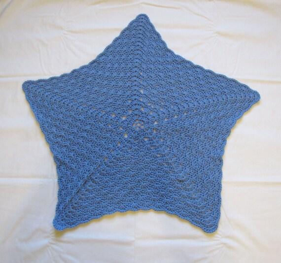 New Handmade Denim Blue Star Shaped Crochet Baby Blanket