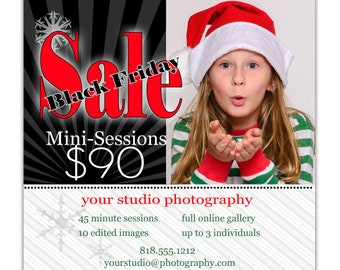 Instant Download - Photoshop PSD layered Templates for Photographers - Marketing Board-Mini Sessions - Black Friday
