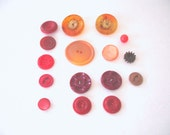 Vintage Buttons Lot of 16 Red to Orange Color Mixed Lot  Sewing Buttons