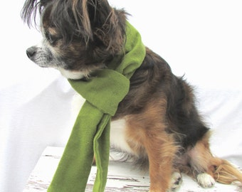 Dog Scarf-Flannel-Warm and Cozy Moss Green