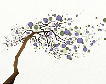 Purple Wall Art Watercolor Tree Home Decor, Blowing Tree Branch, 11 x 14 Tree Print, Green Nature Inspired (3)