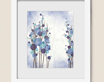 16 x 20 Blue and Purple Wall Decor Tree Print, Abstract Nature Wall Art for Home Decorating, Colorful Circle Decor (17)
