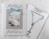 Baby BOY Handmade Rosary/Chaplet Personalized and Handmade Baptism Card
