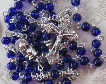 Cobalt Blue Tiny Rosary