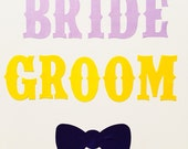 BRIDE and GROOM western Iron-on Letters Pick Your Color