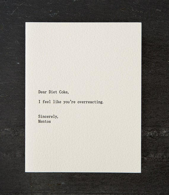 diet coke/mentos. letterpress card. #260