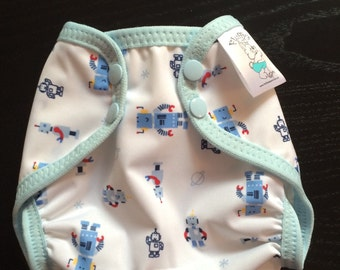 Tiny Robots Polyester PUL Cloth Diaper Cover With Aplix Hook & Loop Or Snaps You Pick Size XS/Newborn, Small, Medium, Large, or One Size