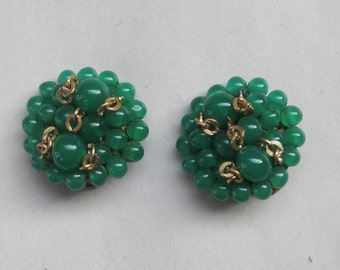 Vintage 1950's Italian Coppola-E-Toppo Faux Jade Earrings