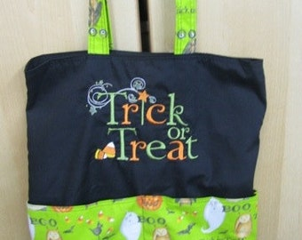 Trick or Treat Embroidered on BOTH sides Halloween Tote or Eco Friendly Purse Grocery or Shopping Bag