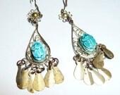 Vintage Gypsy Chandelier Turquoise Scarab Earrings on Etsy