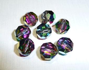 8 Vintage Swarovski 10mm Vitrail Medium Round Cut Crystal Beads Art 5000 on Etsy by APURPLEPALM