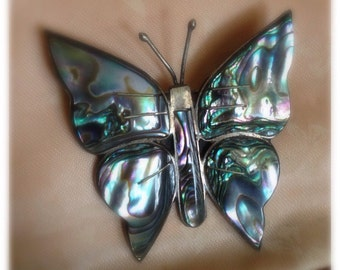 Sterling Silver Taxco Fly Little Butterfly, Because You are Free Vintage Colorful Butterfly in Flight Shell Albalone Pin Brooch Jewelry