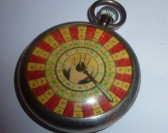 Vintage HAND of FATE gambling pocket watch game