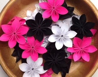 Hot Pink, Black, and White - 100pcs Origami Flowers + Free Shipping
