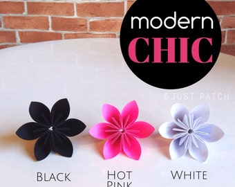 Modern Chic - Hot Pink, Black, and White - 20 Origami Flowers