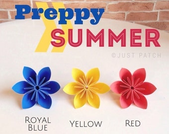 Peppy Summer: Royal Blue, Yellow, and Red - 20 Origami Flowers