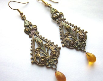 Vintage Metal Dangle Earrings Amber Glass Beads Bohemian
