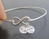 Sterling Silver Infinity Bangle, Sterling Infinity Bracelet, Wedding Date Bracelet, Anniversary Date Bracelet, Personalized Wedding Present