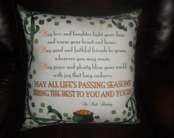 Irish Prayer #2 -  20 inch Throw Pillow (Cover Only)