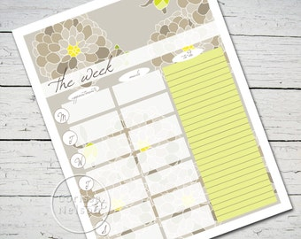 Gray Dahlias Designer Weekly Planner Printable