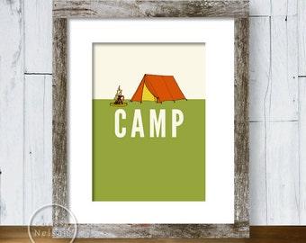 Camp Illustration Art Print 5x7 - Instant Download