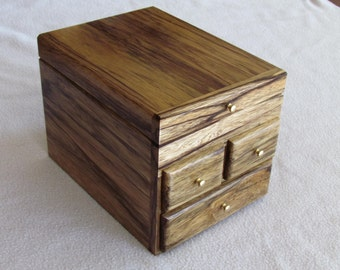 Exotic black limba wood jewlery box, handcrafted, drawers, brass pulls and hinges