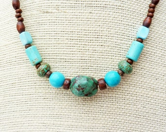 Turquoise Ombre Necklace - Turquoise Beads, Magnesite Beads, Wood Beads, Blue Necklace