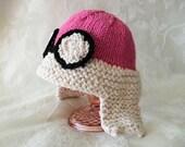 Knitting Aviatrix Baby Hat Knitted Baby Hat Knit Hat Knitted Aviator Top Amelia Earhart Hat Knitted Baby Beanie Pilot Hat Aviator Baby Hat