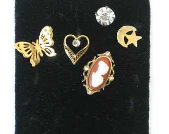 Vintage Collection of Stick Hat Pins, Gold Heart Butterfly, Cameo, Moon, Star Rhinestone Jewelry Lot, Avon Mixed Art Media Supplies