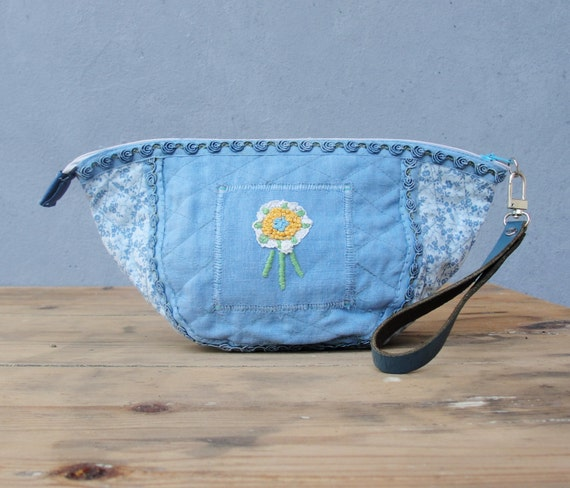 Vintage Embroidery Pouch Leather, Vintage Trim, Embroidery and Fabric - Lost Memories