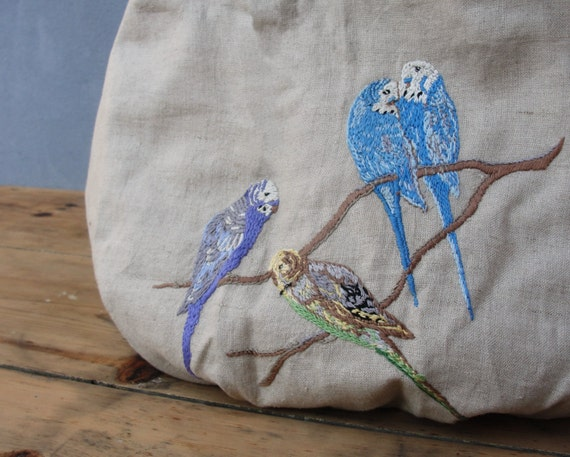 A Piece Of Paradise Hobo Bag - Vintage Embroidered Linen and Leather
