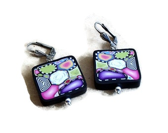 Polymer Clay Square Brightly Colored Earrings E2