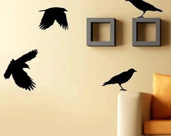 Vinyl Wall Decals - Crows Wall Decal - Birds - SALE 20 Buckaroos