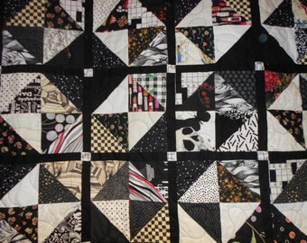 Queen Size Bed Quilt  / Double size quilt 33 Black and white Scrappy