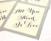 Love Songs Table Number Wedding Decor Custom Your Text Place Setting Card Buffet Dismissal