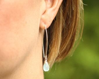 Silver Earrings, Long Silver Earrings, Gemstone and Silver Earrings, Long Gemstone Earrings, Sterling Silver, Gemstone Drop, Single Gemstone